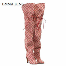 EMMA KING Fashion Pointy Toe Over the Knee Heel Boots Club Party Shoes Thigh High Pointed Woman Boot Botas Boots For Women choudory 2017 fashion runway stretchy sock boots point toe stiletto heel thigh high boot kylie jenner shoes woman crotch booties