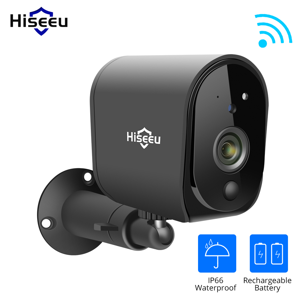Hiseeu 1080P WIFI Battery Camera IP Outdoor Rechargeable Wireless IP Camera PIR Detect Waterproof Solar Panel Remote View