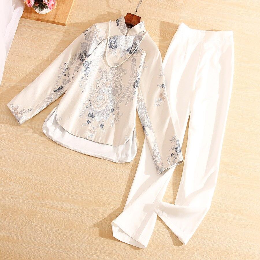 Высококачественный осенний Женский комплект из 2 предметов, модные цветочные тонкие жаккардовые пальто, топы + белые штаны, 2 штуки, Женский комплект, Женский S XL|Спортивные костюмы|   | АлиЭкспресс