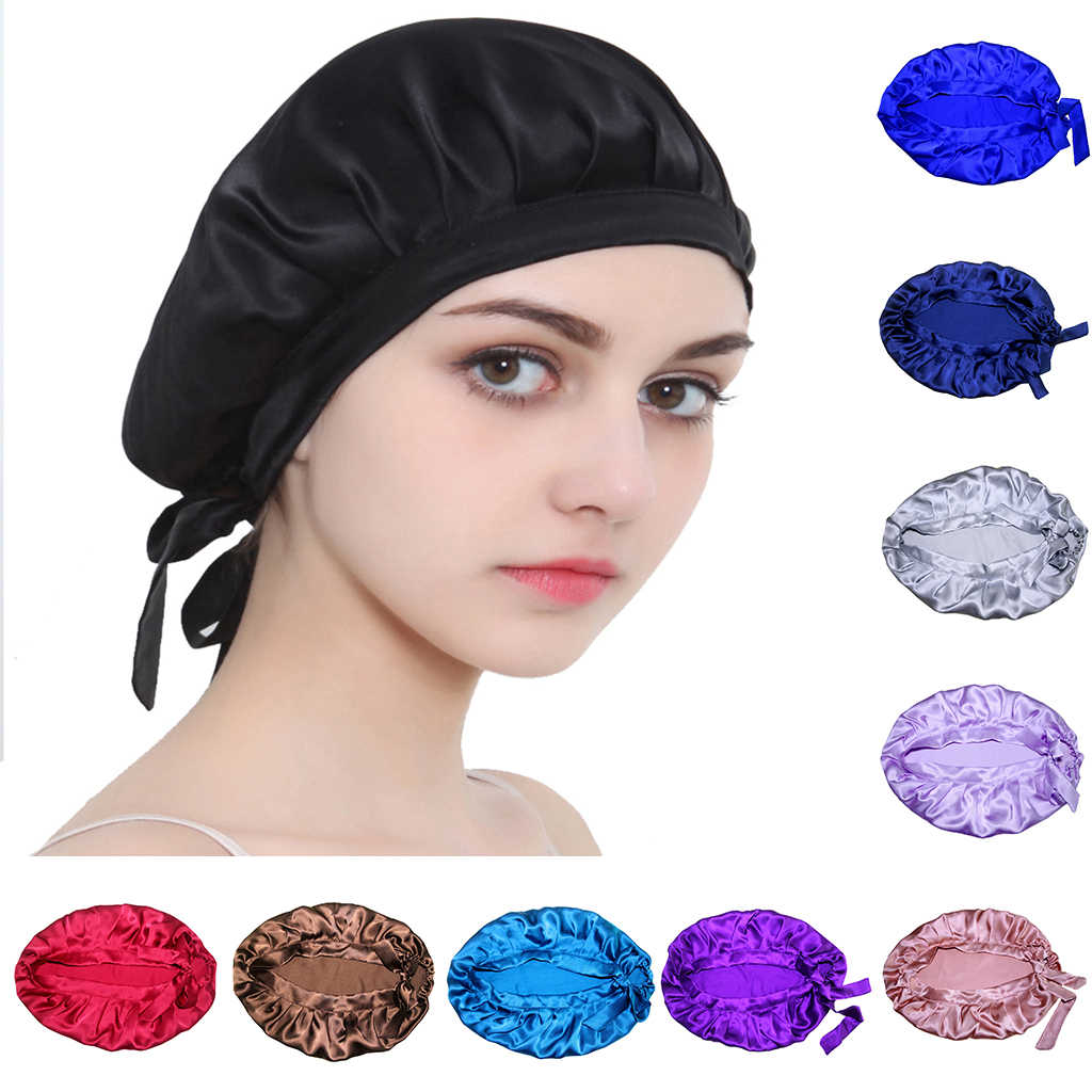 Womens Silk Sleeping Cap Sleep Hat Night Hair Care Bonnet Scarves Wrap
