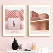 Rosa moda arquitetura maquiagem parede arte cartaz abstrato geométrico linha pintura em tela estilo escandinavo menina quarto decoração de casa