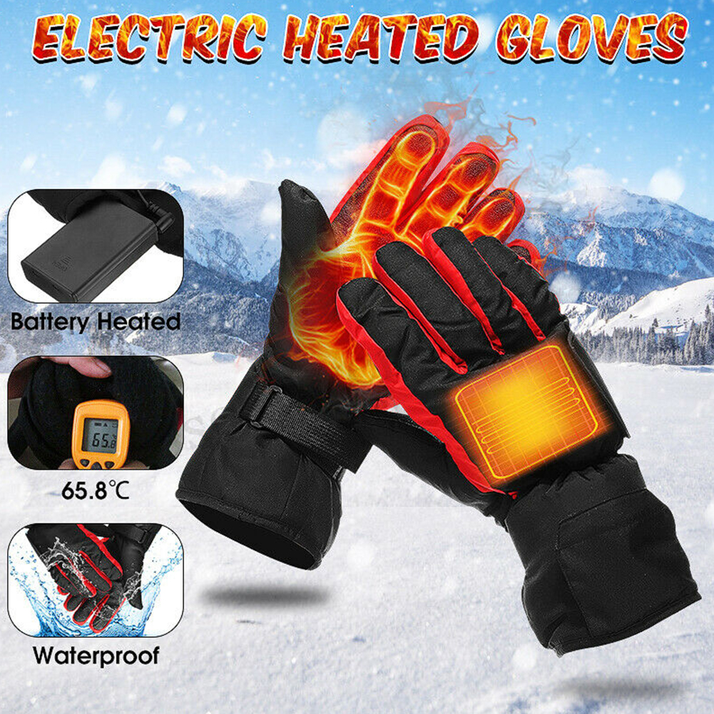 Battery-Type Carbon Fiber Heating Gloves Battery Box Electric Ski  Hand Warm Gloves Winter Motorcycle Heated Gloves