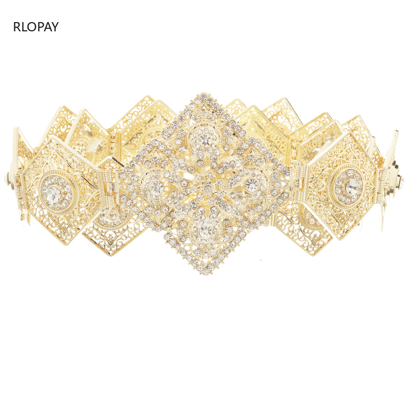 RLOPAY New Moroccan Fashion Kaftan Belts Crystal Grown Belts for Women Arabic Gold Waist ChainBody Jewelry