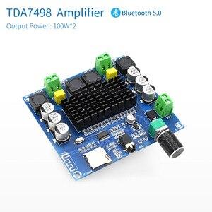 Image 2 - UNISIAN Bluetooth 5,0 TDA7498 Audio Power Verstärker bord 2x 100W Stereo Digital 2,0 kanal Amp Modul Unterstützung TF Karte AUX
