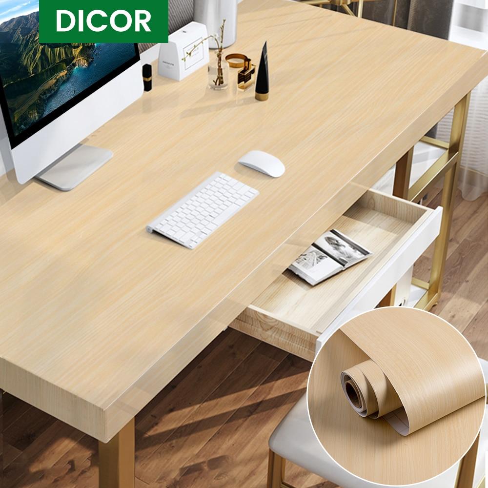 1/2M Waterproof Wood Vinyl Wallpaper Wall Stickers Self Adhesive Paper Doors Cabinet Desktop Modern Furniture Decorative Sticker