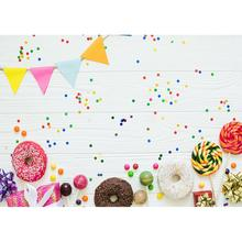 Beignets colorés bonbons fanion blanc planche de bois Photo fond vinyle décors pour enfants bébé douche photographie Photocall