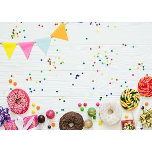 Image 1 - Colorful Donuts Candy Pennant White Wooden Board Photo Background Vinyl Backdrops for Children Baby Shower Photography Photocall