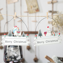 Christmas Tree Decoration Merry Wooden Pendants Xmas Hanging Home Door Ornaments New Year Decor