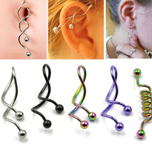 1 Pcs Twist Spiral Ear Industrial Spiral Navel Belly Button Ring Barbells Earring Piercing Jewelry14g Industrial fake Piercing