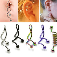 1Pc Twist Spiral Ear Industrial Navel Belly Button Ring Piercing Barbells  Earring Jewelry14g