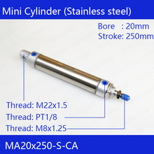 MA20*250 Pneumatic Stainless Air Cylinder 20MM Bore 250MM Stroke MA20X250-S-CA Double Action Mini Round Cylinders