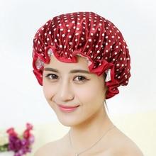 New Women Waterproof Shower Cap Lovely Printing Elastic Shower Caps for Ladies Girl Hat Hai