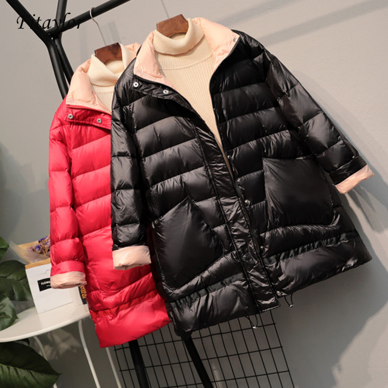 Fitaylor 2020 Ultra Light White Duck Down Jacket New Winter Women Loose Down Coat Parkas Female Warm Parkas Snow Outwear