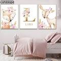 Лесных животных Плакат для детской холст картины пользовательское имя Wall Art розового цвета с рисунком в виде цветка Nordic настенные картины д...