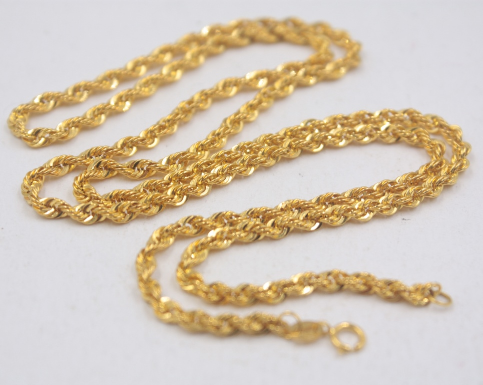 Real Pure 18K Yellow Gold Chain 3mmW Rope Women's Link Wealthy 23.6''L Gift New-in Necklaces from Jewelry & Accessories