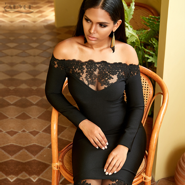 Adyce 2020 새로운 겨울 여성 블랙 붕대 드레스 섹시 슬래시 목 우아한 오프 어깨 레이스 뜨거운 연예인 파티 Bodycon 클럽 드레스