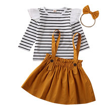 2020 Toddler Baby Girl Ruffle T-shirt Top Skirt Dress Headband Outfits Toddler Girls 3Pcs Striped Clothes Spring Set 18M-6T
