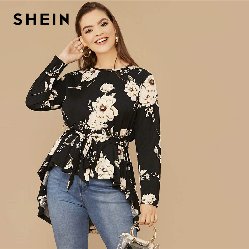 SHEIN Plus Size Black Floral Print High Low Hem Belted Top Women Spring Autumn Blouse Office Lady Casual Womens Tops and Blouses 1