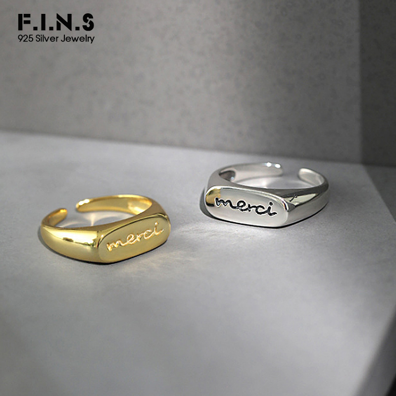 F.I.N.S Korean S925 Sterling Silver Ring INS Hot Flat Surface Letter Ring Knuckle Tail Rings For Women Open Finger Ring