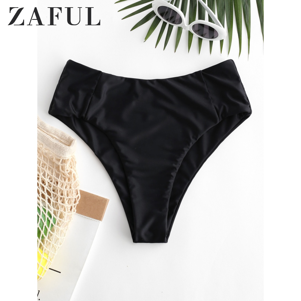 ZAFUL Women Seam High Leg Bikini Bottom ZAFUL Solid High Waisted Basic Swim Briefs 2020 New Type Shorts Swim Bottom Swim Briefs
