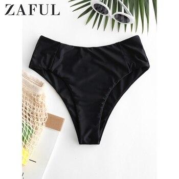 ZAFUL Women Seam High Leg Bikini Bottom ZAFUL Solid High Waisted Basic Swim Briefs 2020 New Type Shorts Swim Bottom Swim Briefs фото
