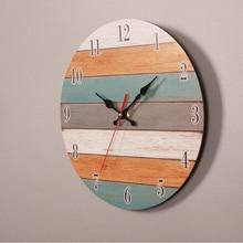 Retro Wall Clock Modern Design Mechanism Vintage Digital Metal European Wooden Roman Craft Home Decorative Gift