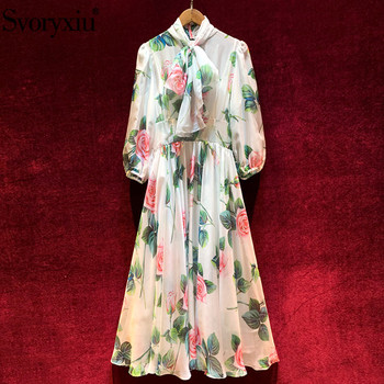 Svoryxiu Spring Summer Runway Vintage Rose Flower Print Party White Dresses Women's Elegant Bow Collar Lace Lined Midi Dress