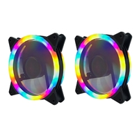RGB 색상 변경 심포니 LED 라이트 데스크탑 컴퓨터 DIY 발광 냉각 팬 LED 케이스 팬 컴퓨터 냉각 팬 (2Pcs Du