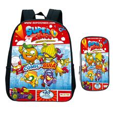 Dzieci Super Zings plecak przedszkolny dzieci Superzings torba do szkoły podstawowej maluch Bookbag prezent (2 szt Zestaw plecak + pokrowiec na długopis) tanie tanio NYLON Tłoczenie Unisex Miękka Poniżej 20 litr Miękki uchwyt NONE zipper Łukowaty pasek na ramię backpack Poliester
