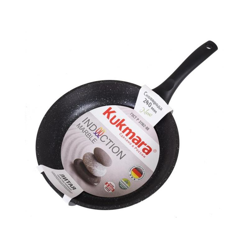 Frying Pan Kukmara, Marble, Dark Marble, 24 Cm, Black