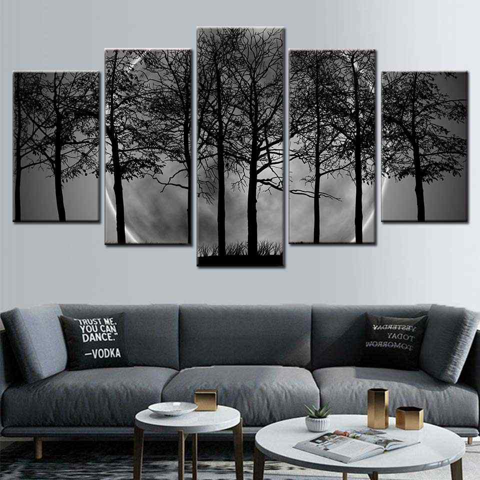 Hd Baski Duvar Sanati 5 Parca Siyah Beyaz Gri Psychedelic Orman