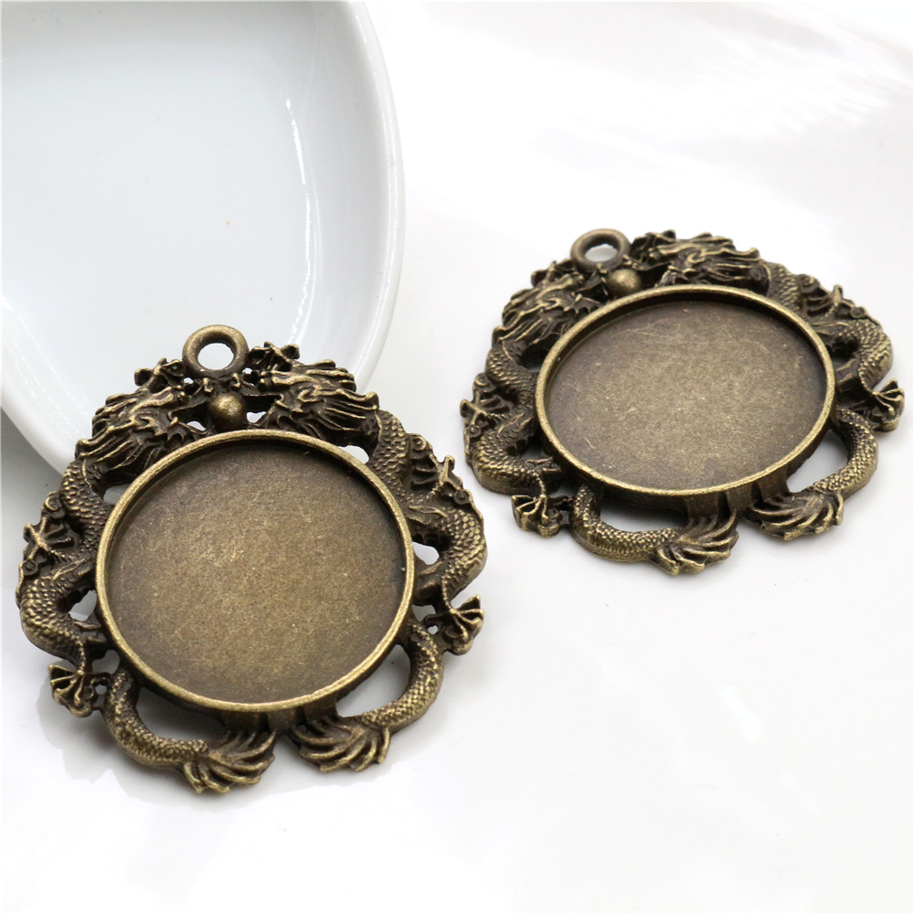 2pcs 30mm Inner Size Antique Bronze Classic Style Cabochon Base Setting Charms Pendant (B6-21)