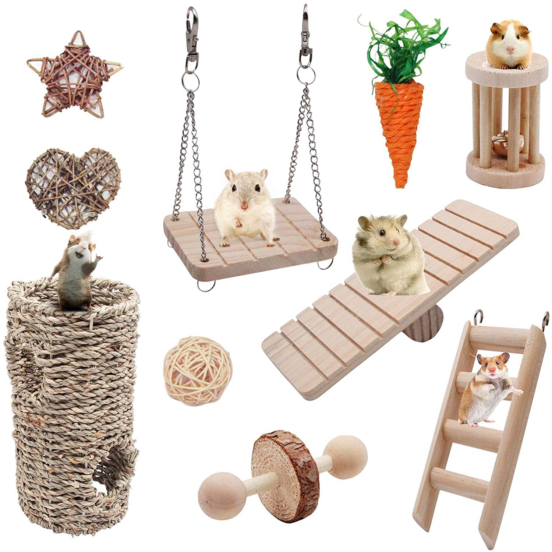 10 pçs hamster jogar brinquedos conjunto chinchilas cobaia brinquedos mastigar exercício sino rolo cuidados com os dentes molar brinquedos para coelhos