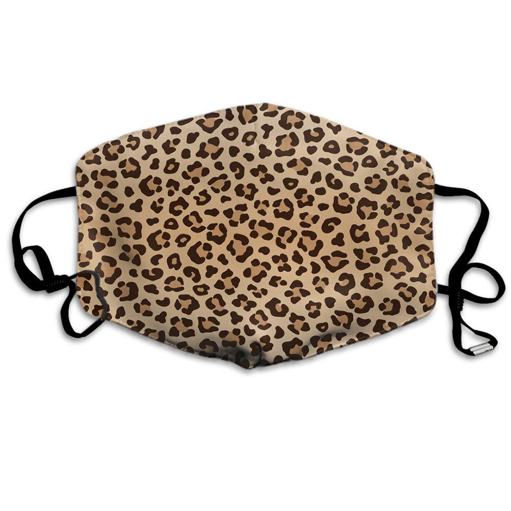 Swono Mask Leopard,Animal Leopard Print Pattern Polyester Anti Dust Face Mask-Washable And Reusable Mask For Cycling Camping