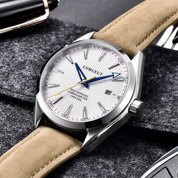 top brand fashion Corgeut 41mm men clock calendar Automatic relogio masculino black Dial Sapphire Glass luxury men watch