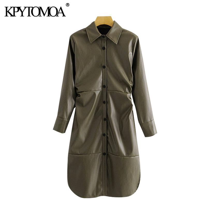 KPYTOMOA Women 2020 Chic Fashion Faux Leather Draped Midi Dress Vintage Long Sleeves Button-up Side Vents Female Dresses Mujer