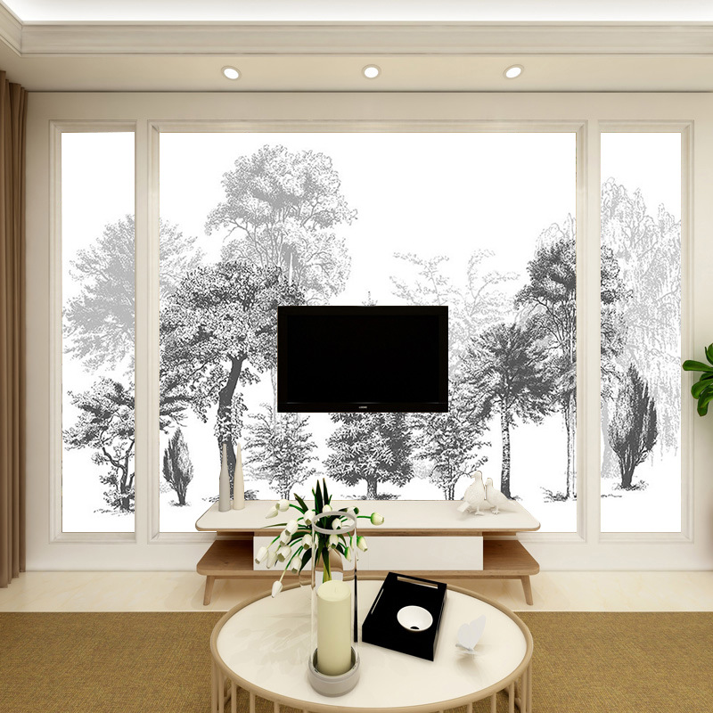 3D Modern Minimalist Black And White Sketch Style Abstract Woods Living Room Sofa Bedroom TV Backdrop Wall Wallpaper