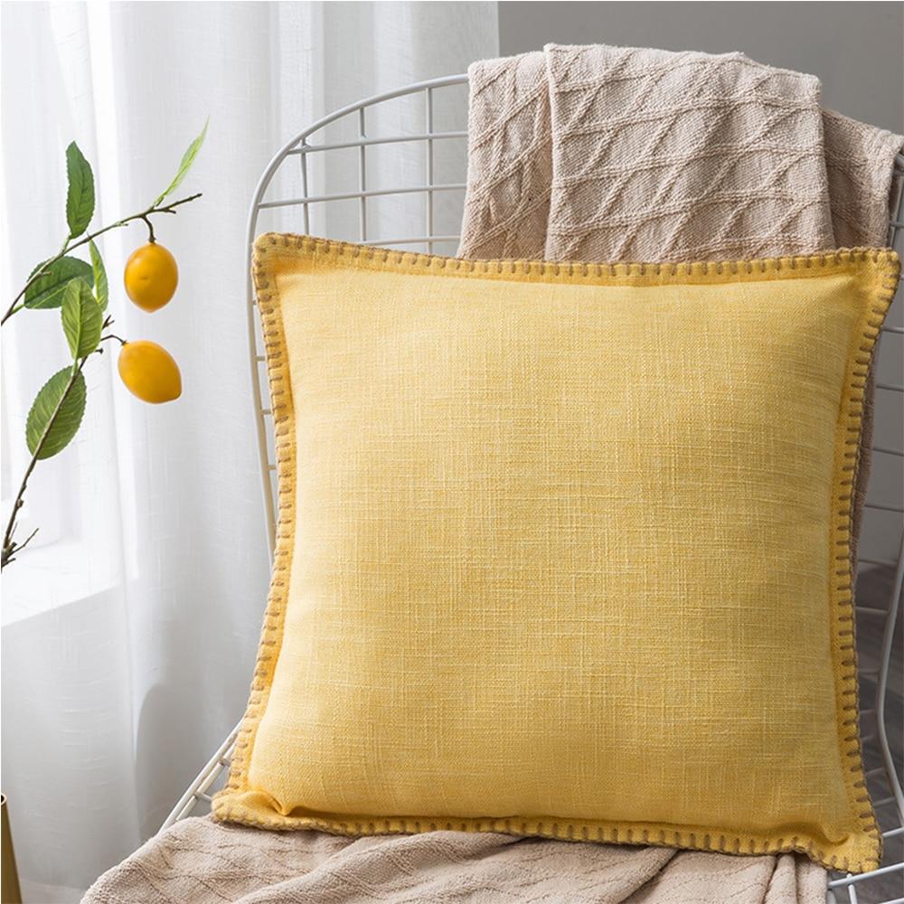 >Decorative Throw Pillow Covers <font><b>Farmhouse</b></font> <font><b>Style</b></font> Trimmed Flange Linen Burlap Cushion Cases Vintage Decor Pillowcases For Couch