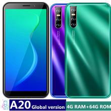 A20 Quad Core Wifi Smartphones 4Gb Ram 64Gb Rom 13MP 6.0Inch Fhd Android Mobiele Telefoons Gezicht Id ontgrendeld Celulares Global Versie