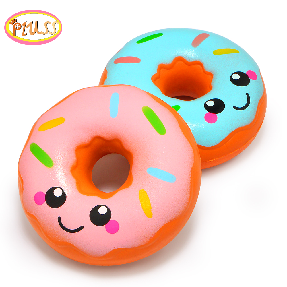 New 10*10CM Cute Smiley Donut  Food Squishy Slow Rising Cream Scented Squeeze Toy  Stress Relief Exquisite For Kids Xmas Gifts