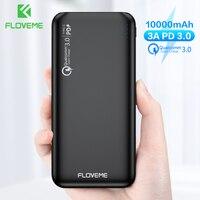 Floveme 18 w pd power bank 10000mah carregador usb duplo para iphone xiaomi mi bateria externa carga rápida power bank 10000mah Carregadores de celular     -
