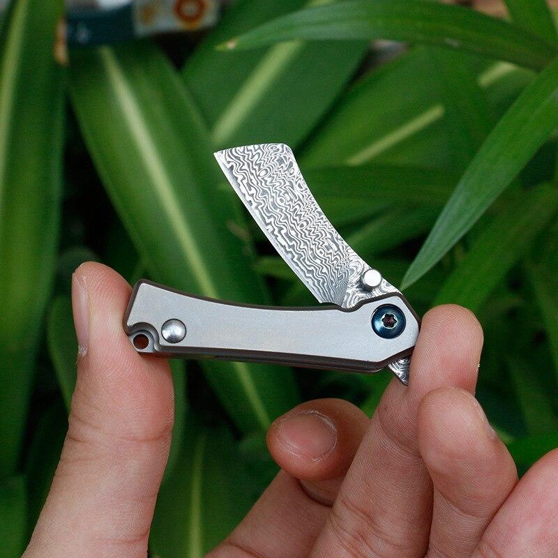 Tools : Mini Pocket Keychain Knife  Damascus Blade Titanium Handle Folding Knives Creative Multi-functional Outdoor Knife