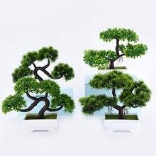 Plantas verdes artificiales, bonsái de plástico de simulación, maceta de árboles pequeños, adornos en maceta para la decoración del jardín de la Mesa del hogar 52841