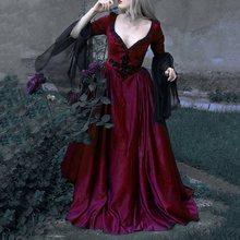 Готическое винтажное Элегантное Длинное платье для женщин, Осень-зима, темно-Черное Красное Сетчатое ретро платье для вечеринки, ужина размера плюс 5XL Vestidos