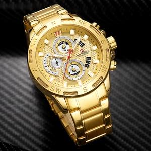 Image 3 - NAVIFORCE Luxury Brand Mens Sport Watches Gold Full Steel Quartz Watch Men Date Week Waterproof Military Clock Relogio Masculino