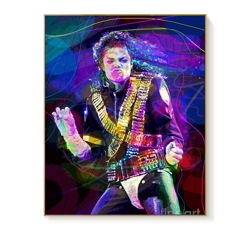 2020 Diy Painting By Numbers Kits Mike Jackson Pop Singer Hand Painted Rock Oil Paint By Numbers For Home Decor Art Paint By Number Aliexpress