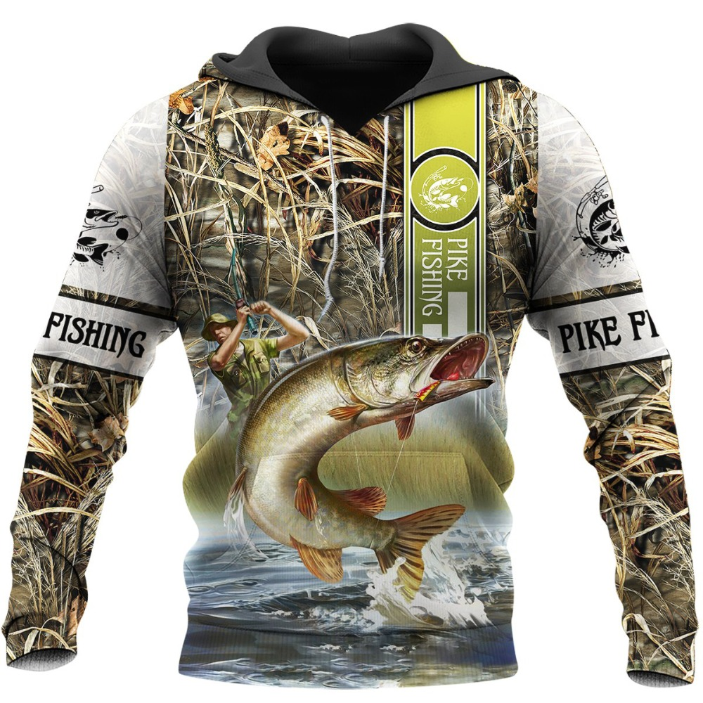 New Fashion Mens Pullover Pike Hunting <font><b>3D</b></font> Printed Autumn Winter Hip Hop <font><b>Hoodie</b></font> <font><b>Unisex</b></font> Zipper Jacket LL-0049 image