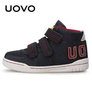 Image 4 - Uovo осень зима Детская мода повседневная обувь Лидер продаж Обувь для мальчиков и девочек Mid CUT совета Обувь дети Спортивная обувь размер EUR 28 # 39 #