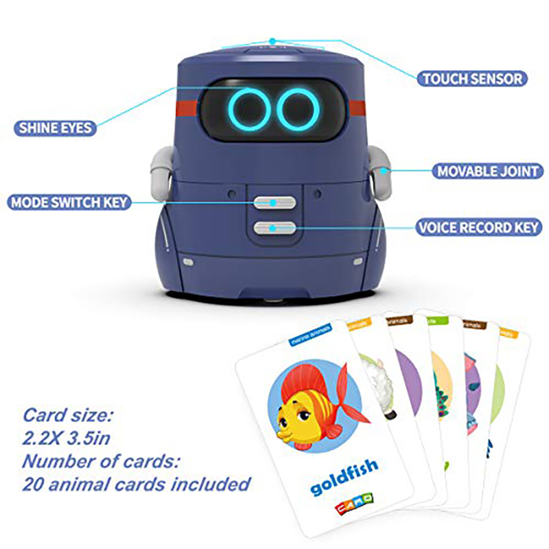 Toy Rc Robot For Kids Smart Robotics STEM Singing Dancing Voice Recording Interactive Robot Games 20 Animals Cards Cute Toy Gift