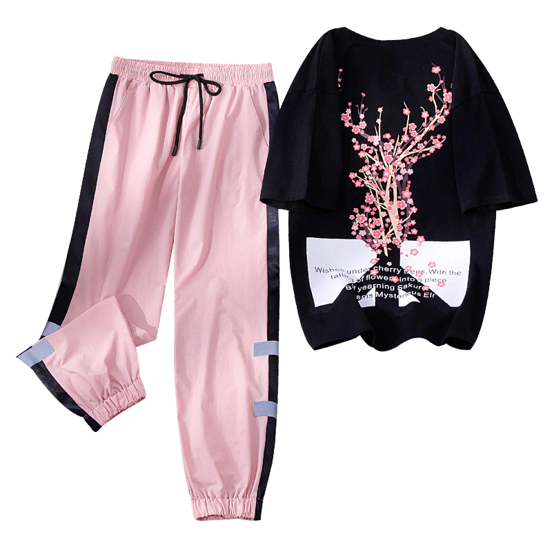 Two Piece Set Women Fashion 2020 New Sports And Leisure Suit Women's Clothing Features Slimming Trend Summer Tracksuit Female